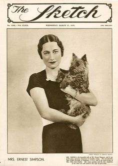 Wallis Simpson (aka Duchess of Windsor) with a dog who looks like Toto. #cairnterrier