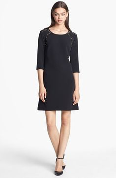 Donna Morgan Studded Crepe Shift Dress (Online Only) Wear with textured tights and booties