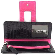 696ce362390b4 Kenneth Cole Reaction Black Patent Alligator Tab Wristlet Wallet  www.silverhooks.com