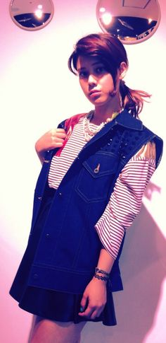 Denim Vest, Striped Tee | Fall & Winter | Dolly & Molly | www.dollymolly.com | picked by Staff M. #harajuku #japan #streetstyle #mirror #lighting #chic #geek #stunning #photography #snap #daily #Lookbook