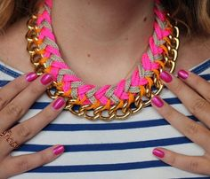 Weekend DIY Projects: Chevron Chain Necklace. Statement necklaces are huge this season and we love this version because ti's a little bit girly and a little bit tough. #SelfMagazine