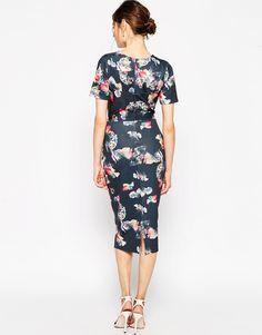 Image 2 ofASOS Maternity Scuba Midi Bodycon Dress in Bright Floral Print