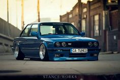BMW E30 3 series blue slammed Stanceworks CA Tuned