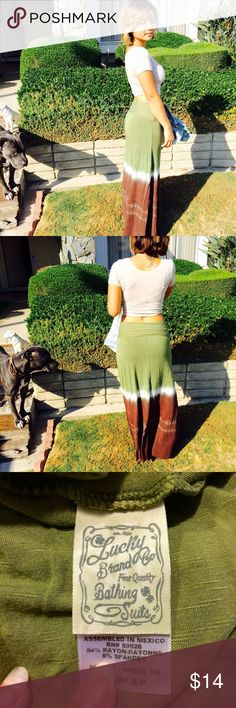 Maxi Skirt from Lucky Brand 👌 Lucky Brand maxi skirt. Olive green and brown. Folds over on the top. Only worn once! Lucky Brand Skirts Maxi