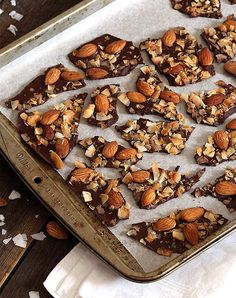 We love this Coconut Almond Bark. If you need a sugar free, dairy free boost of healthy fat in your life, keep these crunchy, chocolatey treats in your fridge and keep cravings at bay! Low Carb Candy, Low Carb Sweets, Low Carb Desserts, Low Carb Recipes, Cooking Recipes, Paleo Recipes, Keto Candy, Almond Recipes, Healthy Sweets