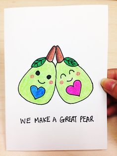 We make a great pear cute and funny love card for boyfriend, cute anniversary card by LoveNCreativity