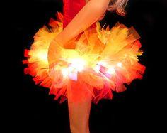 Fire Tutu Light Up Tutu EDM EDC Rave Club Wear Neon Tutu Adult Tutu Halloween Costume Devil Tutu Girl On Fire Fire Fairy