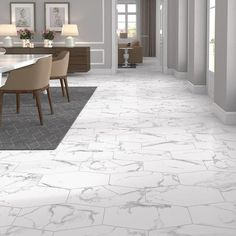 Jeffrey Court Statuary Path White in. Matte Porcelain Hexagon Floor and Wall Tile sq. / case) - 99480 - The Home Depot Vinyl Flooring, Kitchen Flooring, Flooring Ideas, Wall And Floor Tiles, Wall Tiles, Statuario Marble, Calacatta, Marble Floor, Marble Tiles