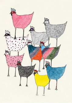 Thereza Rowe Illustration. chickens, hens @Christine Smythe Smythe Anderson