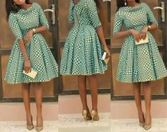 African Print Pleated Dress with Dual Neckline, African Flare Dress, African Short Dress, African Dress by MyAnkaraLove on Etsy Latest African Fashion Dresses, African Dresses For Women, African Print Dresses, African Print Fashion, Africa Fashion, African Attire, African Wear, African Women, Fashion Prints