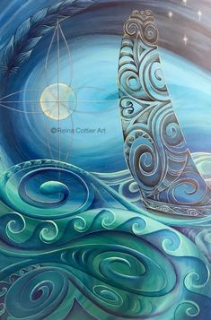 Gallery – Reina Cottier Art Polynesian Art, Marjolein Bastin, Turquoise Art, New Zealand Art, Batik Art, Maori Art, Ocean Themes, Diy Canvas Art, Angel Art