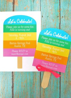 #Rainbow #Popsicle #Birthday Invitation - Custom PRINTABLE Popsicle DIY Party Invitation - by anna and blue paperie  #popsicleinvitation
