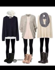 Extra long shirts and sweaters or cardigans over them with leggings and boots