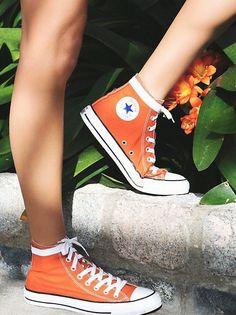 Charlie Hi Top Converse Classic canvas high top Chuck Taylors. *By Converse Hi Top Converse, Converse Sneakers, Converse Chuck Taylor, Converse Classic, Custom Converse, Orange Shoes, Colored Converse, Converse Vintage, Designer Shoes