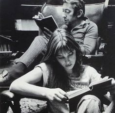 The duo read. thelibrarianbookclub:  Jane + Serge = book...