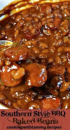 Southern Style BBQ Baked Beans recipe is packed with tons of flavors smokey spicy and sweet all in one bite Adding smoked sausages bbq sauce cayenne pepper brown sugar an. Canned Baked Beans, Best Baked Beans, Slow Cooker Baked Beans, Baked Bean Recipes, Healthy Recipes, Crock Pot Baked Beans, Soul Food Recipes, Pinto Bean Recipes, Homemade Baked Beans
