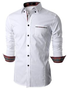 Doublju Mens Long Sleeve Button Down Dress Shirt (KMTSTL0160) #doublju