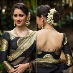 Love the look Saree Blouse Neck Designs, Fancy Blouse Designs, Saree Blouse Patterns, Boat Neck Saree Blouse, Traditional Blouse Designs, Saree Dress, Dress Designs, Stylish Blouse Design, Bollywood