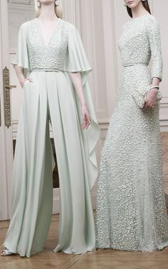 Mint Embroidered Long Sleeve Gown by Elie Saab | Moda Operandi