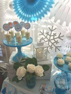 Pudding cups at a Frozen birthday party! See more party planning ideas at CatchMyParty.com!