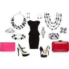 Minus almost all of the jewelry and I would wear it :) IN love with the shoes.. I have a thing for black and white! created by fashiongirl-26 on Polyvore
