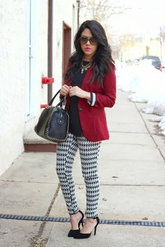 Blogger @Nathalie De Francisci Michele's Go-To look features a red Charlotte Russe blazer and a studded satchel bag. See more on her blog - A Love Affair With Fashion : My Go-To Look