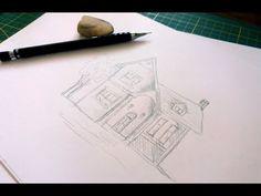 Desen in creion cu casa Cute House, Pencil Drawings, Pencil Art