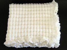Crochet White Baby Blanket Christening Baptism Blessing