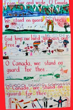 Have students illustrate lines of the national anthem! Would be great to do in French so that students can compare the differences in meaning between the French and English versions. Canadian Symbols, Canadian History, Canadian Art, Canadian French, Remembrance Day Activities, Remembrance Day Art, Canada For Kids, O Canada, Canadian Social Studies