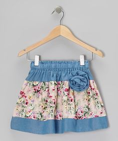 Look what I found on #zulily! Light Blue Floral Corsage Skirt - Kids & Tween #zulilyfinds