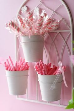 Birthday Party Idea ~ cute way to serve plastic utensils and some candy