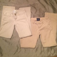 Tan pants Two pair of tan paints one is a little darker then the other both size two American Eagle Outfitters Pants Trousers