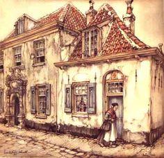 """Anton F. Pieck was a Dutch painter, illustrator and graphic artist. Colour print """"Lepelenburg Utrecht"""" Visit the Anton Pieck Museum. Jm Barrie, Anton Pieck, Dutch Painters, Dutch Artists, Book Illustration, Botanical Illustration, Illustrators, Fairy Tales, Fine Art"""