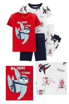Your little boy can bust out his ninja moves before bedtime in this super cute mix and match four piece sloth pajama set Sloth Pajamas, Kids Pajamas, Pajamas Women, Pyjamas, Ninja Moves, Sloth Sleeping, Sloths, Sleep Shirt, Bedtime