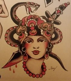 Traditional/old school tattoo, sailor jerry, gypsy, dagger, snake