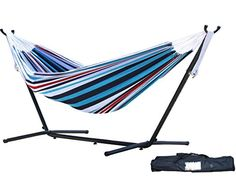 Vivere Double Hammock with Space Saving Steel Stand Denim -- BEST VALUE BUY on Amazon-affiliate link