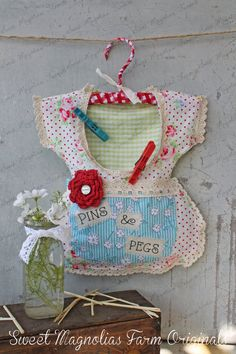 Clothespin Bag Vintage Style Dress  Pins & by SweetMagnoliasFarm, $36.50