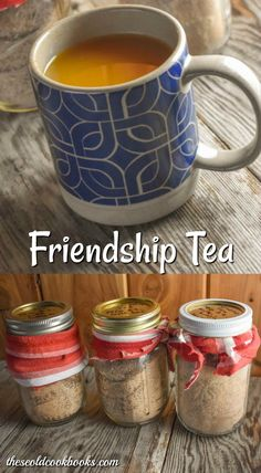 Friendship Tea Recipe made with Tang - These Old CookbooksYou can find Tea recipes and more on our website.Friendship Tea Recipe made with Tang - These Old Cookbooks Fun Drinks, Yummy Drinks, Mixed Drinks, Cold Drinks, Mason Jar Meals, Meals In A Jar, Christmas Tea, Christmas Drinks, Edible Christmas Gifts