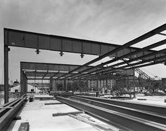 archimaps: Mies van der Rohe's Crown Hall under construction, Chicago