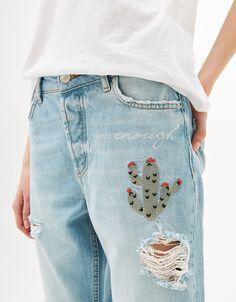 Jeans Relax Fit cactus bordados. | Pinterest: nasti