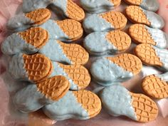 Elephant theme baby shower boy blue chocolate covered nutter butter cookies. Cute peanut shaped thought they would go good with the elephant theme.