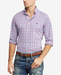 Polo Ralph Lauren Men's Classic Fit Performance Twill Shirt - This version of Polo Ralph Lauren's iconic oxford shirt is garment-dyed and washed for a broken-in look and feel. Stylish Mens Fashion, Mens Boots Fashion, Best Mens Fashion, Pink Plaid Shirt, Twill Shirt, My Guy, Jacket Style, Casual Button Down Shirts, Men Casual
