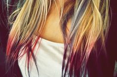 Colored hair tips.