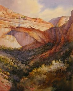 Watercolor painting of the Great Arch in Zion by Roland Lee- see the process of the painting