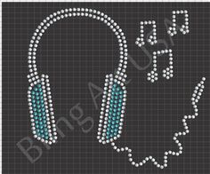 Headphones Rhinestone Design Pattern File Download Stencil Template Bling Art