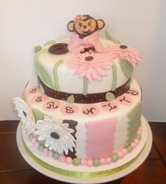 Baby Girl Monkey themed baby shower cake
