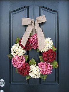 Valentine Wreath Hydrangea Wreath Pink Red by twoinspireyou, $85.00