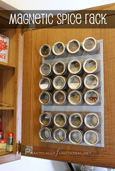 organize your spices with a magnetic spice rack, cabinets, cleaning organization, kitchens, storage shelving, Store your spices on a magneti...