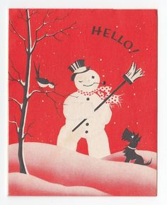 UNUSED Vintage Greeting Card Christmas Snowman Smoking Pipe Scotty Dog Art Deco