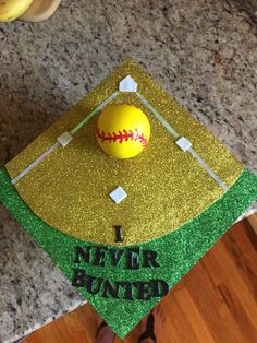 My softball themed graduation cap (featured in full color photo in the local paper) #kentmurphy #graduation #cap #ideas